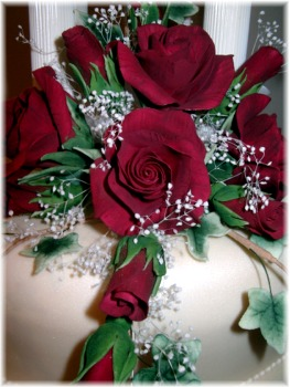 Handcrafted Burgundy Sugar Roses