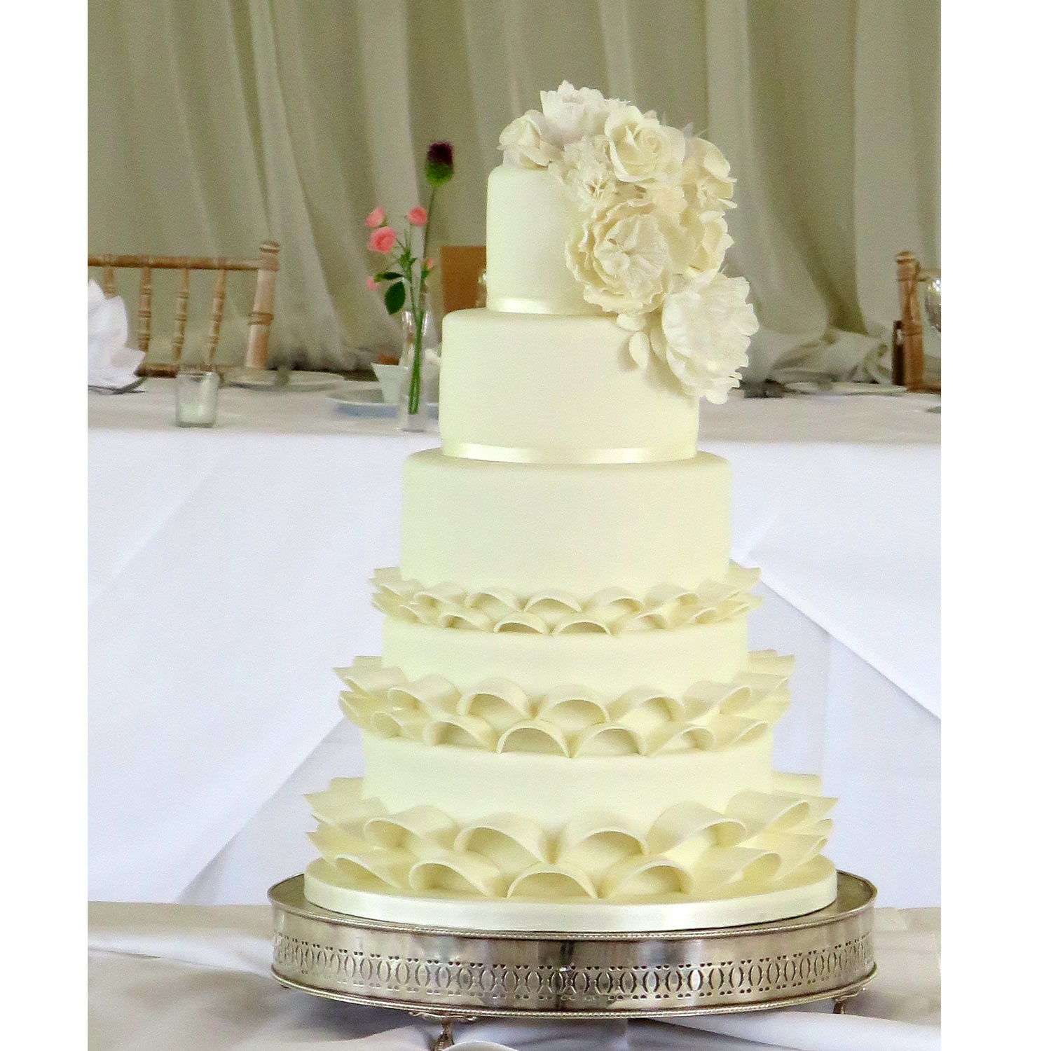 Millie Tall Wedding Cakes Decorated With Sugar Roses And