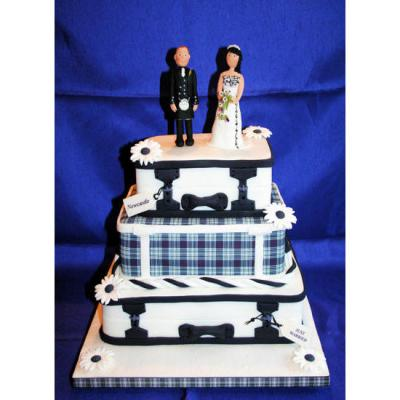 Black and White Tartan Suitcase Wedding Cake
