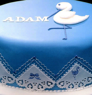 Broderie Anglaise Cake Design on a Christening Cake