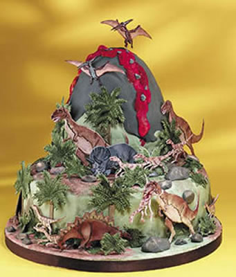 Volcano Cake decorated with Dinosaurs