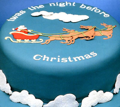 Santa in his Sleigh Decorate a Christmas Cake