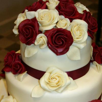 Dark Red and White Belgian Chocolate Roses