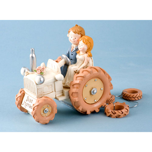 Bride and Groom on Tractor