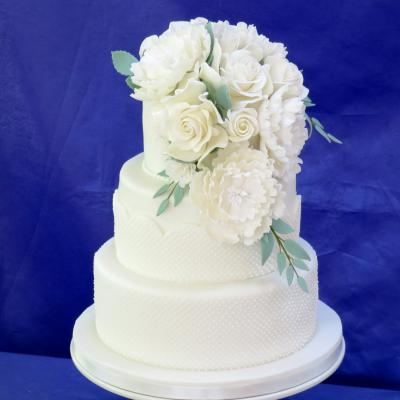 Waterfall bouquet of handcrafted sugar flowers.