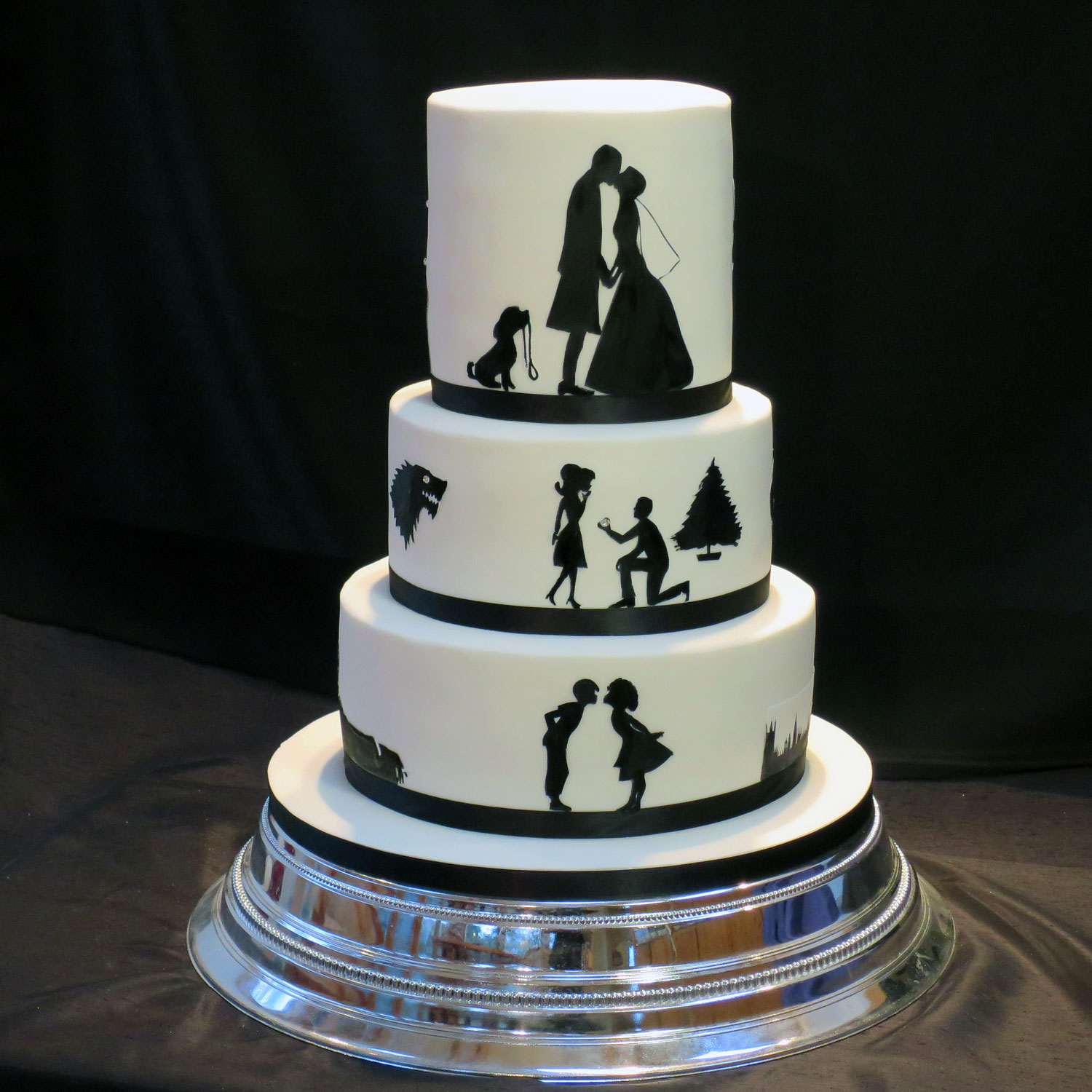 First Kiss, Proposal and Wedding Day Silhouette Cake