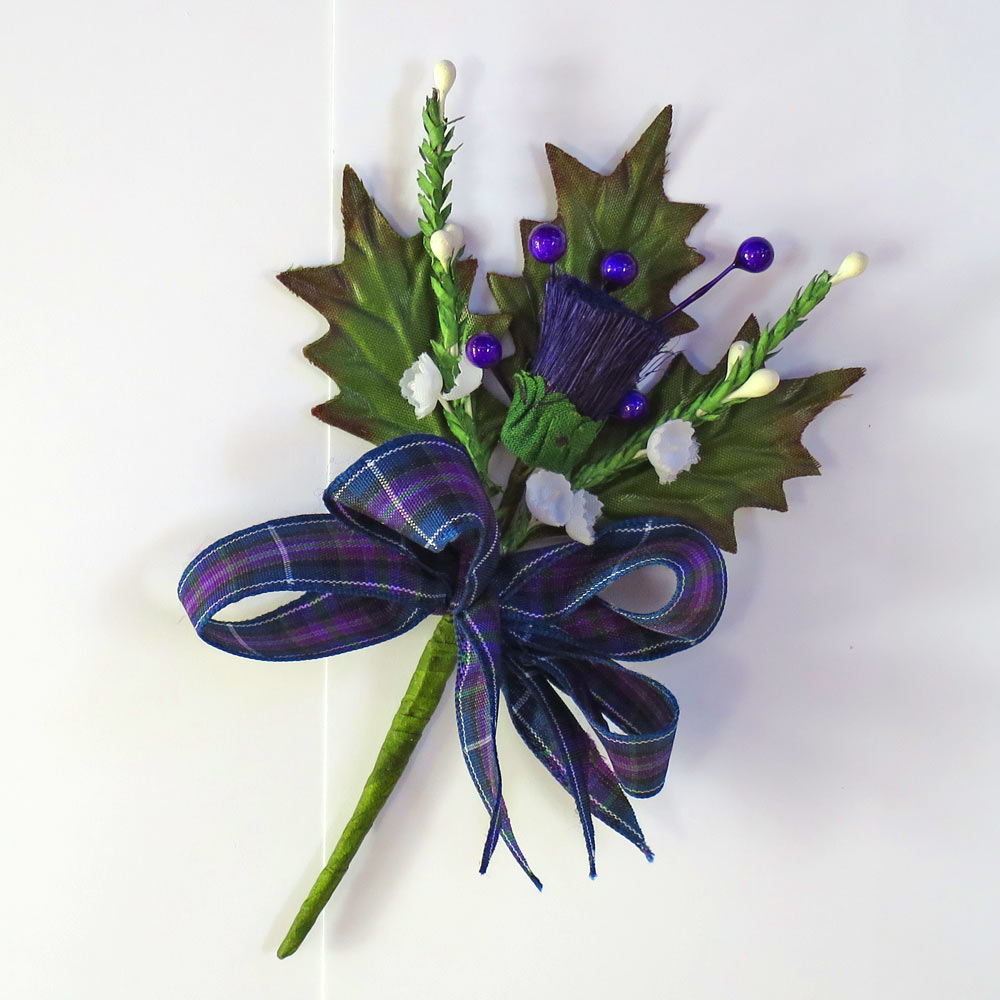Silk Thistle Tartan Buttonhole with Modern Pride Ribbon