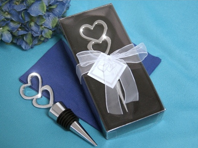 Silver Double Heart Wine Bottle Stopper