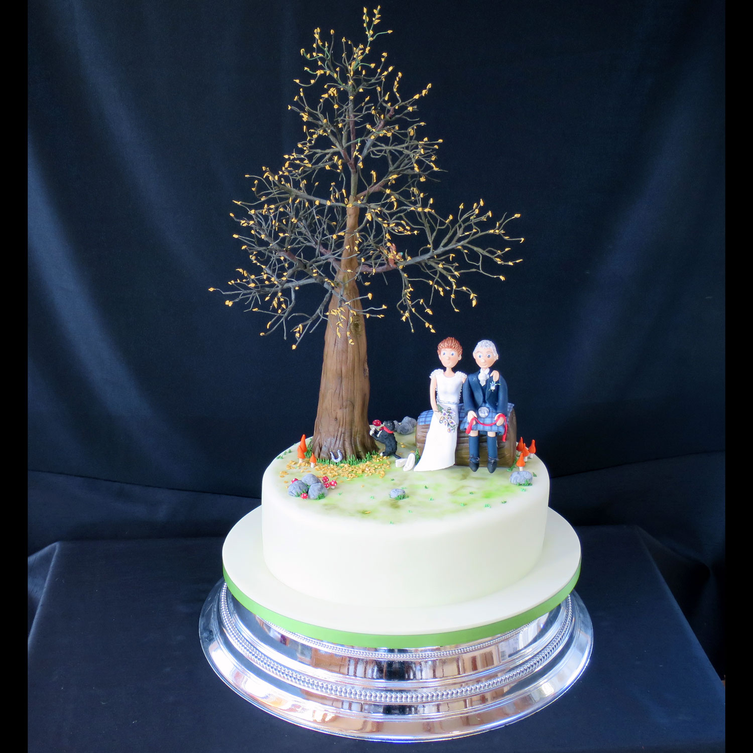 Sugarcraft Tree with Bride and Groom sitting on a log.