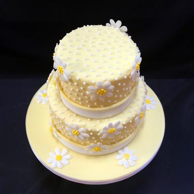Wedding Cake with edible piped Daisies