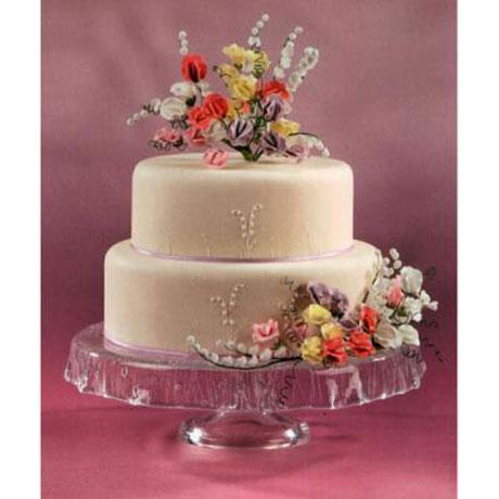 Wedding Cake Decorated with Sugar Sweet Peas