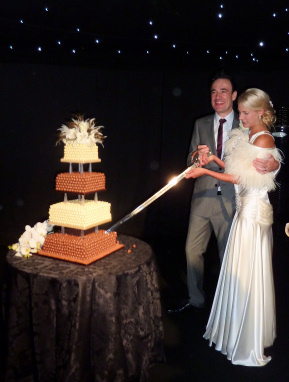 Cutting the Malteser Wedding Cake