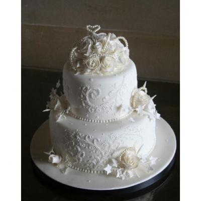 Two Tier Wedding Cake with Icing Embroidery