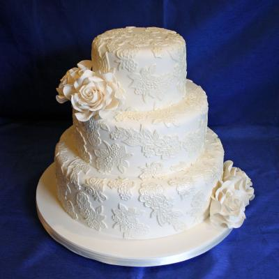 Wedding Cake Decorated with Edible Lace Icing